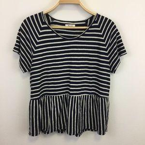 Madewell Raglan Stripe Shirt with peplum bottom -L